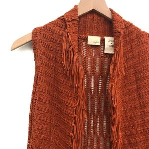 Daytrip Jackets & Coats - Daytrip Orange Fringe Knit Vest Cardigan - Size S